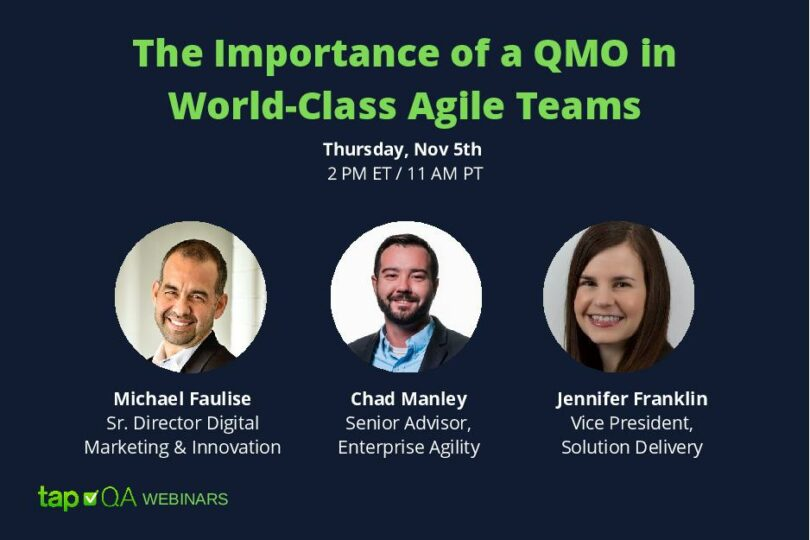 Webinar The Importance of a QMO in World-Class Agile Teams | TapQA